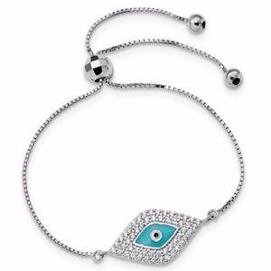 Evil Eye Adjustable Bracelet Sterling Silver